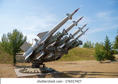 Anti-aircraft air defense missiles on position