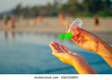 antibacterial agent in the hand. concept of cleanliness and health