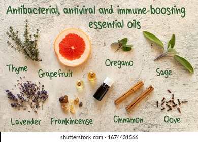 Antibacterial, antiviral and immune-boosting essential oils, with inscriptions