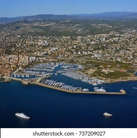 Antibes City and Marina Aerial View, Cote d'Azur Provence France