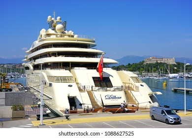 ANTIBES, FRANCE -20 APR 2018- View of the Dilbar yacht, the world's largest superyacht moored in the Marina Port Vauban harbor, in Antibes, on the Mediterranean Sea on the French Riviera.