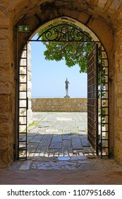 ANTIBES, FRANCE -20 APR 2018- View of the Musée Picasso museum located in the Château Grimaldi in the old town of Antibes, French Riviera.