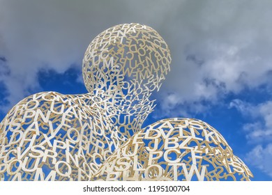 ANTIBES, FRANCE -31 MAY 2018: View of the Nomade, a large white metal sculpture by Spanish artist Jaume Plensa in the Port Vauban harbor, Antibes, French Riviera