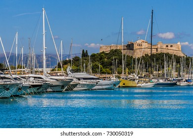 ANTIBES, FRANCE - AUGUST 29, 2012: Port with luxury boats and yacht moored in Antibes. Antibes - resort town in Alps-Maritimes department in France between Cannes and Nice, Cote d'Azur.