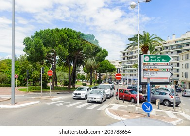 ANTIBES, FRANCE - JUN 25, 2014: Downtown of Antibes, Cote d'Azur, France. Antibes was founded as a 5th-century BC Greek colony and was called Antipolis