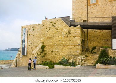 Antibes, France - June 25, 2018: View of Castle Grimaldi (Pablo Picasso Museum) in the Old Town of Antibes