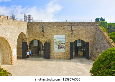 Antibes, France - June 25, 2018: View of Archaeological Museum (fortification of Bastion Saint Andre) in the Old Town of Antibes