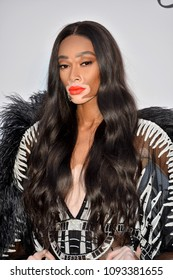 ANTIBES, FRANCE. May 17, 2018: Winnie Harlow at the 25th amfAR Gala Cannes event at the Hotel du Cap, Antibes. Part of the 71st Festival de Cannes