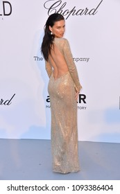 ANTIBES, FRANCE. May 17, 2018: Adriana Lima at the 25th amfAR Gala Cannes event at the Hotel du Cap, Antibes. Part of the 71st Festival de Cannes