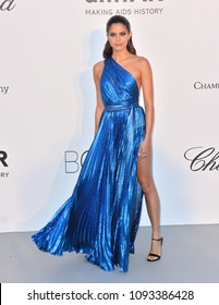 ANTIBES, FRANCE. May 17, 2018: Sara Sampaio at the 25th amfAR Gala Cannes event at the Hotel du Cap, Antibes. Part of the 71st Festival de Cannes