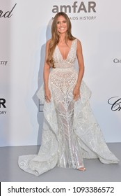 ANTIBES, FRANCE. May 17, 2018: Heidi Klum at the 25th amfAR Gala Cannes event at the Hotel du Cap, Antibes. Part of the 71st Festival de Cannes