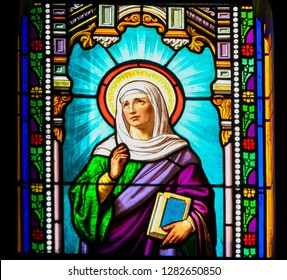 Antibes, France - November 16, 2018: Stained Glass in the Church of Antibes, France, depicting Saint Anna