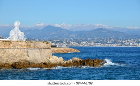 ANTIBES IN FRANCE -November 24, 2015: Antibes. France - Fort Carre and sculpture of the spanish artist Jaume Plenza, Nomade, figure. Editorial photo.