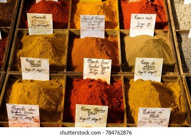 Antibes, France - October 15, 2017 : Spices on display in the central provence food market
