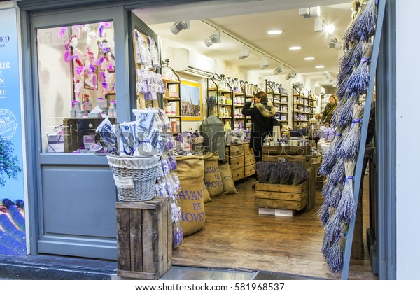 ANTIBES, FRANCE, on JANUARY 7, 2017. Authentic souvenirs and products from Provence are on sale in shop