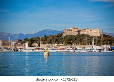 Antibes harbor, France, with yachts and Fort Carre. Horizontal shot