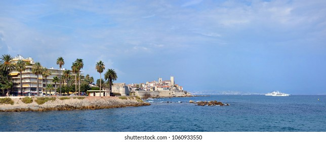 Antibes & Mediteranean Sea Panorama with Nice in the background, France.