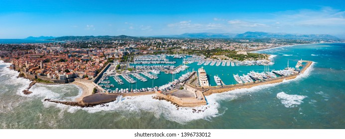Antibes port aerial panoramic view. Antibes is a city located on the French Riviera or Cote d'Azur in France.