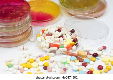Antibiotic(Drug) in laboratory.Pharmaceutical medicament, cure in container for health. Pharmacy theme.