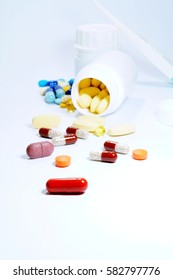 Antibiotics pills and pain relief drugs, vitamins - soft focus, blurry