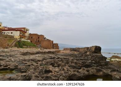 Antic phoenician wall on the mediterranean shore of Batroun, Lebanon