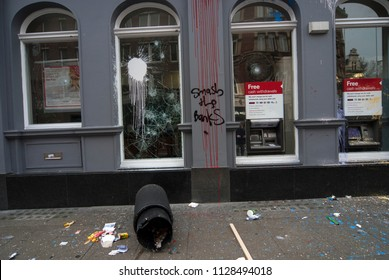 Anti-Capitalist protesters march in the City of London  and vandalized  banks , London. 26/03/2011
