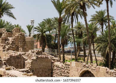 Antick walls of Mamluk Castle or Aqaba Fort Jordan. Fortress was built by Crusaders in the 12th century - Shutterstock ID 1637396557
