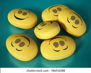 Antidepressant pills with smiling face. 3D illustration.