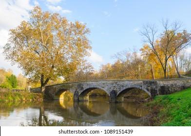 Antietam Civil War Battleground Historic Bridge During Autumn