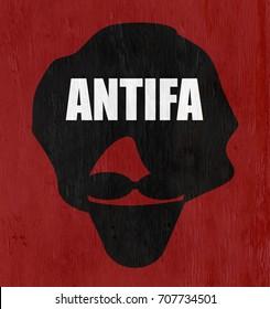 antifa anarchist on wood grain texture