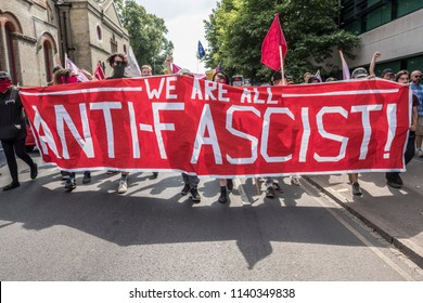 Antifa march in the counter demonstration against the Free Tommy Robinson protest in Cambridge, United Kingdom, 21/07/18.