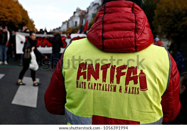 "Anti-facist demonstration against the far-right group ""Generation Identitaire"", the youth branch of the nationalist French and Europeanist activist movement in Lille, France on Nov. 19, 2016"