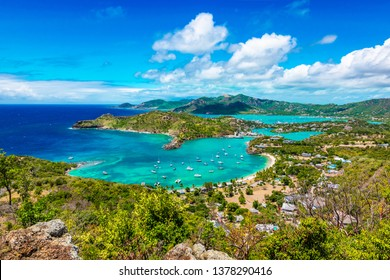 Antigua and Barbuda Falmouth harbour bay landscape, Caribbean.