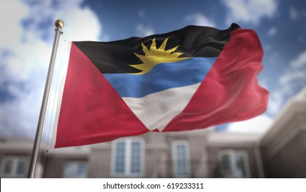 Antigua and Barbuda  Flag 3D Rendering on Blue Sky Building Background