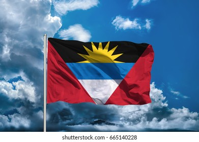 Antigua and Barbuda flag with sky background