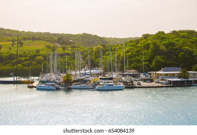Antigua, Caribbean islands, English Harbour - May 20, 2017:  English harbour view with yachts