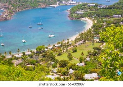 Antigua, Caribbean islands.  English harbour view with Galleon beach and yachts