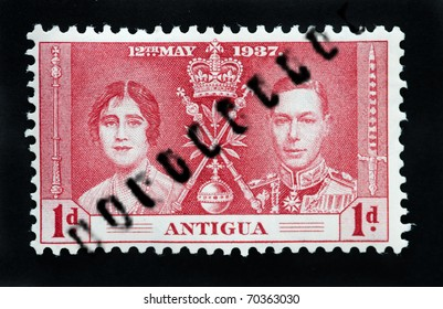 ANTIGUA - CIRCA 1937 - First Day Cover commonwealth postage stamp marking coronation of King George 6th circa 1937