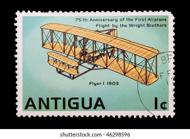 ANTIGUA - CIRCA 1978: mail stamp printed in Antigua showing the Wright brothers first powered flight, circa 1978