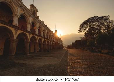 Antigua city at Sunset in Guatemala