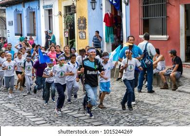 Antigua / Guatemala - 09/14/2014: Kids Celebrate Independence Day on the Street