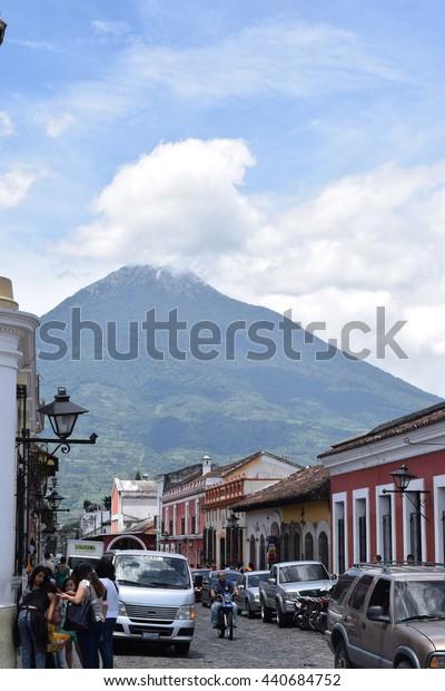 Antigua Guatemala - 21 June 2016 - Volcano Agua and city view. Antigua is famous for Spanish school.