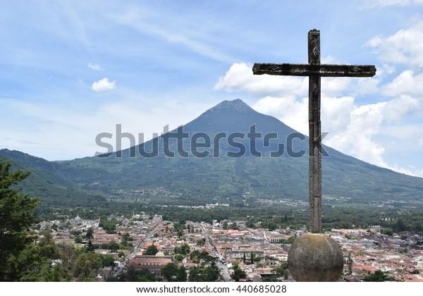 Antigua Guatemala - 21 June 2016 - City view from Cerro de la Cruz