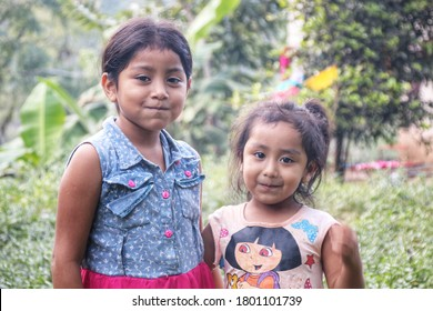 Antigua, Guatemala - August, 2020: The people of Guatemala. Cute kids in a rural area at the local villages.