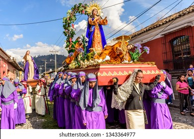 Antigua, Guatemala -  February 18, 2018: Lent procession in UNESCO World Heritage Site with most famous Holy Week celebrations in Latin America.