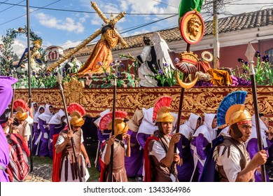 Antigua, Guatemala -  February 18, 2018: Lent procession with Roman soldiers in UNESCO World Heritage Site with most famous Holy Week celebrations in Latin America.