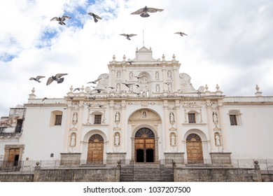 Antigua, Guatemala - Jan 30, 2018: Cathedral of San Jose situated at the central square in Antigua, Guatemala
