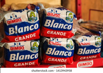 Antigua, Guatemala - January 5 2017: Packages for Bimbo  bread at the marketplace.