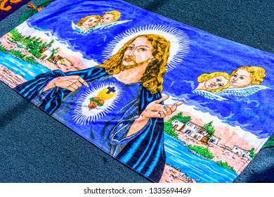 Antigua, Guatemala -  March 11, 2018: Lent procession carpet detail of Christ in town with most famous Holy Week celebrations in Latin America