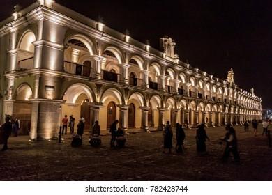 ANTIGUA, GUATEMALA - MARCH 26, 2016: Night view of Palacio de los Capitanes Generales in Antigua Guatemala town, Guatemala.